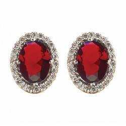 BO PLAQUE OR BICOLORE MARQUISE OZ ROUGE