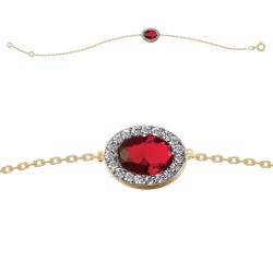 BRACELET 18CM PLAQUE OR BICOLORE MARQUISE OZ ROUGE