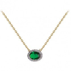 COLLIER 42CM PLAQUE OR BICOLORE MARQUISE OZ VERT