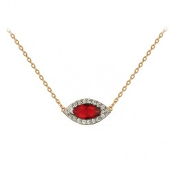 COLLIER 42CM PLAQUE OR BICOLORE MARQUISE OZ ROUGE