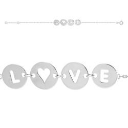 BRACELET 18CM ARGT RH MEDAILLE LOVE