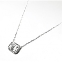 COLLIER 42CM ARGENT 925 CZ RECTANGLE BLANC