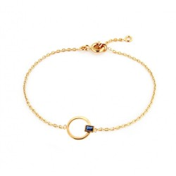 BRACELET 18CM PLAQUE OR CERCLE CZ RECTANGLE BLEU