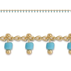 CHAINE CHEV PLAQUE OR SIMPLE BEADS COUL. TURQUOISE 25 CM
