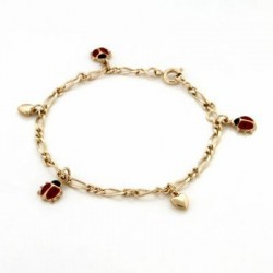 BRACELET CHAINE MAILLE ALTERNEE 1+2 PAMPILLES COCCINELLE EMAILLEE ET COEUR 17CM