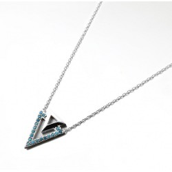 COLLIER 42CM ARGENT 925 2 TRIANGLES CZ TURQUOISE