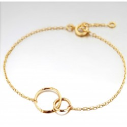 BRACELET 18CM PLAQUE OR 2 CERCLES 15 et 25MM