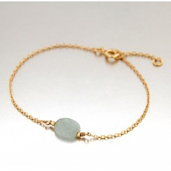 BRACELET POR 1 VERITABLE AQUAMARINE
