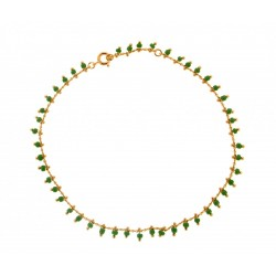CHAINE CHEV PLAQUE OR SIMPLE BEADS VERT 25 CM