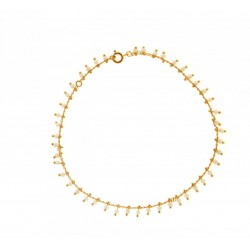 CHAINE CHEV PLAQUE OR SIMPLE BEADS BLANCS 25 CM