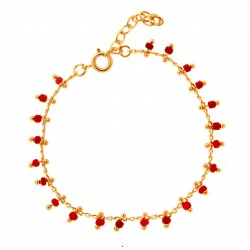 BRACELET 18 CM PLAQUE OR SIMPLE BEADS CORAIL