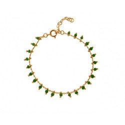 BRACELET 18 CM PLAQUE OR SIMPLE BEADS VERT