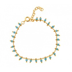 BRACELET 18 CM PLAQUE OR SIMPLE BEADS COUL. TURQUOISE