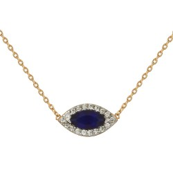 COLLIER 42CM PLAQUE OR BICOLORE MARQUISE CZ BLEU